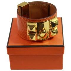 """Hermes Bracelet Collier de Chien """"medor"""" in Grained orange Leather and Golden HW"""