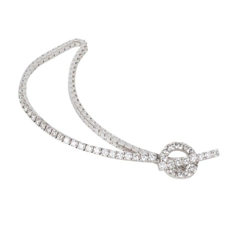 Hermès Bracelet Finesse Diamond Chaine d'Ancre Closure White Gold For Sale 2