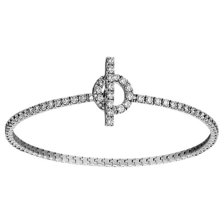 Hermès Bracelet Finesse Diamond Chaine d'Ancre Closure White Gold For Sale