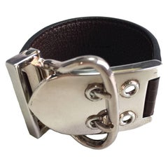HERMES Bracelet in Brown Crocodile and Sellier Buckle in Sterling Silver 925Ag