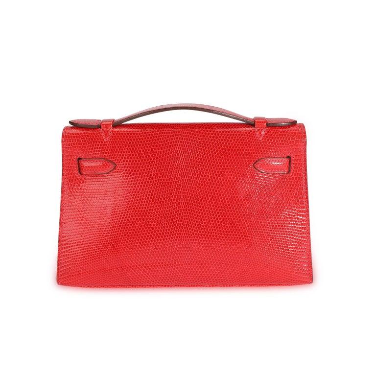 Red Hermès Braise Niloticus Lizard Kelly Pochette GHW For Sale