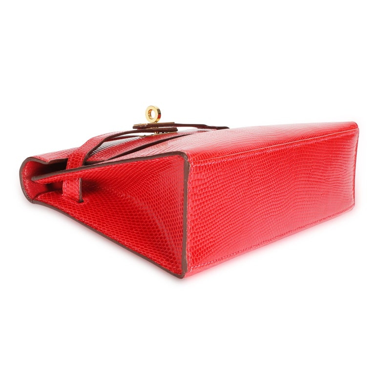 Hermès Braise Niloticus Lizard Kelly Pochette GHW In Excellent Condition For Sale In New York, NY