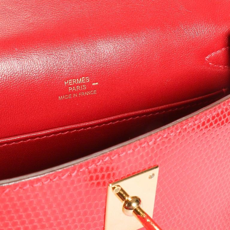 Hermès Braise Niloticus Lizard Kelly Pochette GHW For Sale 3