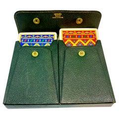 Hermès Bridge Set Playing Cards in Green Leather Case