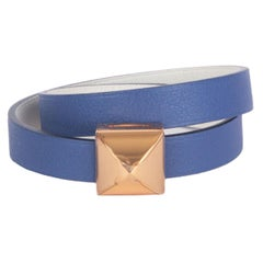 HERMES Brighton blue / white Swift MEDOR INFINI Double Tour Bracelet T1