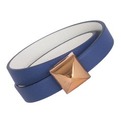 HERMES Brighton blue / white Swift MEDOR INFINI Double Tour Bracelet T2