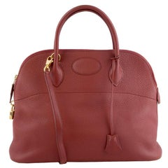 HERMES Brique red Clemence leather BOLIDE 35 Bag