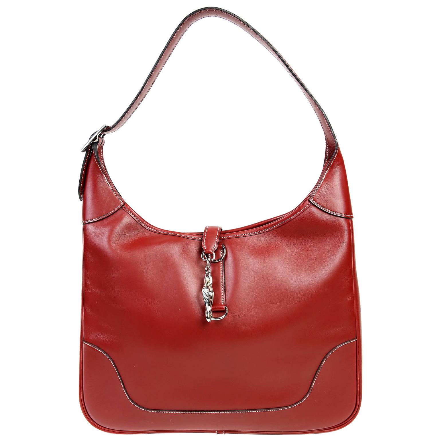 Hermès Brique Red Leather 31 cm Trim Bag