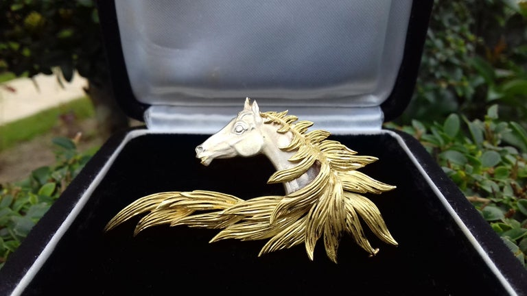 Rare and Gorgeous Authentic Hermès Brooch  Pattern: Horse's head  Made of Grey Gold and Yellow Gold  Beautiful reflections in the mane !