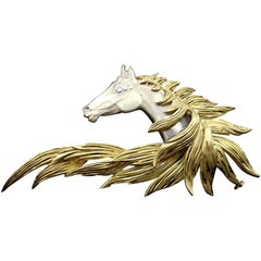 Hermès Brooch In Grey and Yellow Gold Horse Head Numbered Extremely Rare