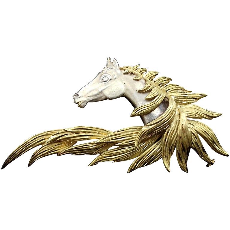 Hermès Brooch In Grey and Yellow Gold Horse Head Numbered Extremely Rare For Sale