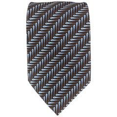 HERMES Brown & Blue Geometric Print Silk Tie
