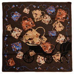 "Hermes Brown Blue ""Kelly en Caleche"" 70cm Cotton Scarf by Cyrille Diatkine"