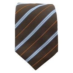 HERMES Brown Blue & Rust Diagonal Stripe Woven Silk Tie 758761 T