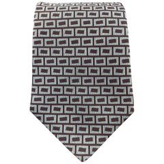 HERMES Brown & Blue Squares Print Textured Silk Tie