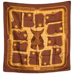Hermes Brown Camails by Francoise de La Perriere Silk Scarf