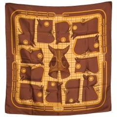Hermes Brown Camails by Francoise de La Perriere Silk Scarf