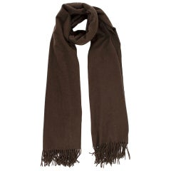 Hermes Brown Cashmere Embroidered Logo Stole
