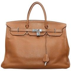 Hermes Brown Clemence Birkin Bag