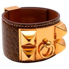 Hermes Brown Collier de Chien Alligator Mississippiensis Bracelet - Size S
