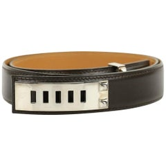 Hermes Brown Collier De Chien Belt