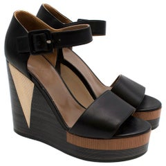 Hermes Brown Colour block Leather Wedges 36