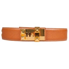 Hermes Brown Courchevel Leather Collier De Chien Belt 60CM