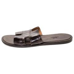 Hermes Brown Croc Leather Izmir Flat Sandals Size 42