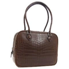 Hermes Brown Crocodile Exotic Skin Mini Evening Top Handle Satchel Bag