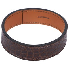 Hermes Brown Crocodile Thin Bangle