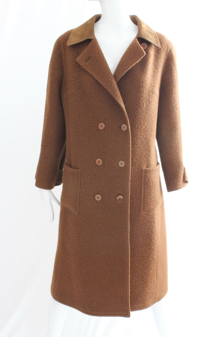 Women's Hermes Brown Double Breasted Suede Leather Trim Trench Style Wool Coat, 1970s For Sale
