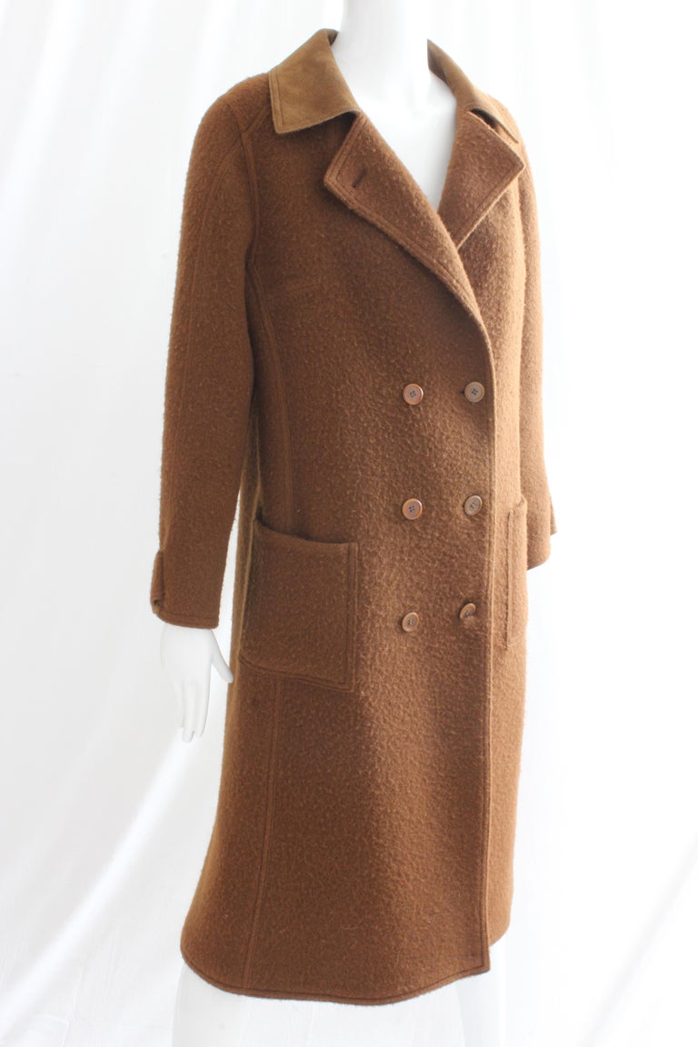 Hermes Brown Double Breasted Suede Leather Trim Trench Style Wool Coat, 1970s For Sale 1