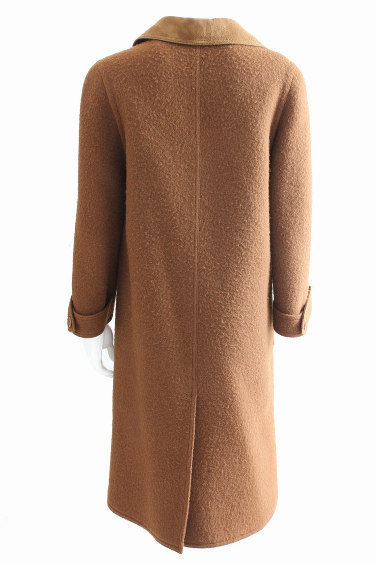 Hermes Brown Double Breasted Suede Leather Trim Trench Style Wool Coat, 1970s For Sale 2