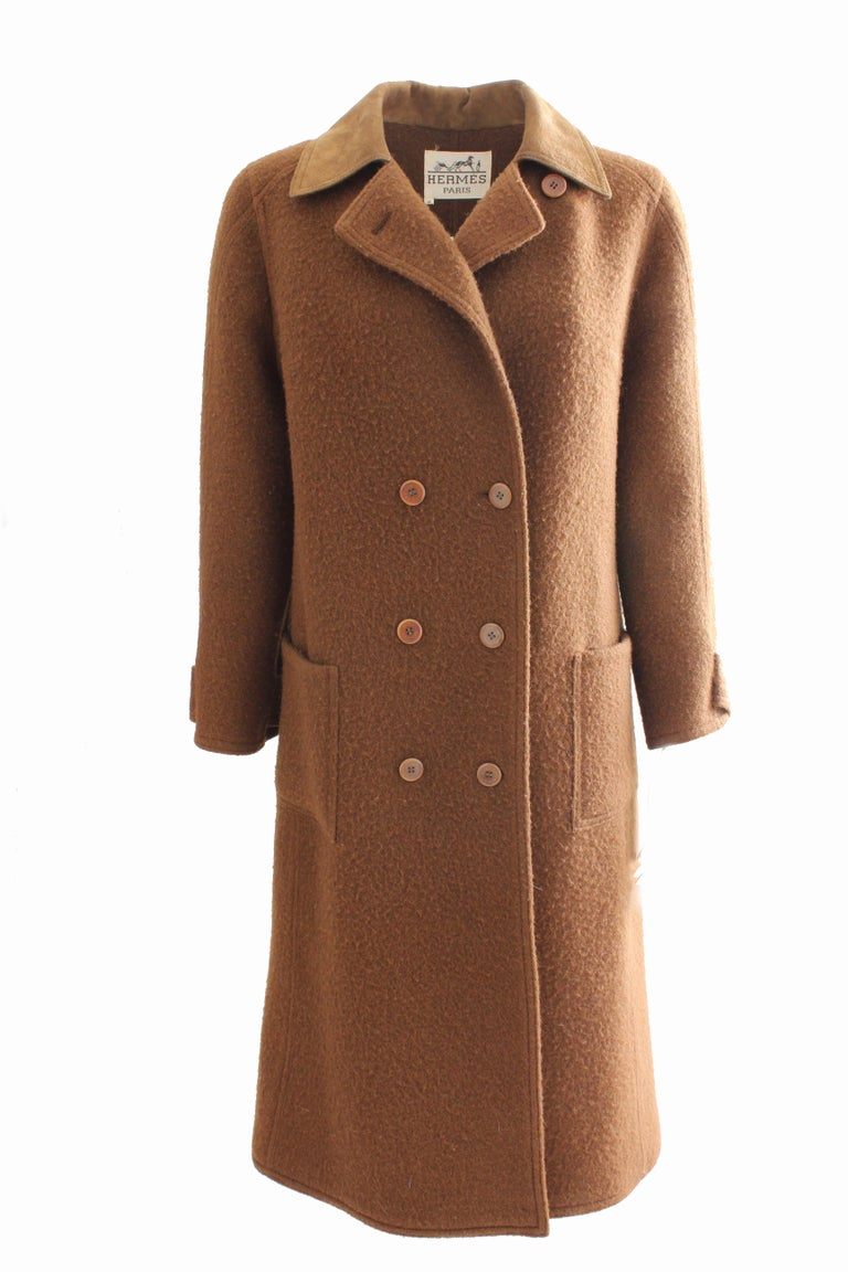 Hermes Brown Double Breasted Suede Leather Trim Trench Style Wool Coat, 1970s For Sale 3