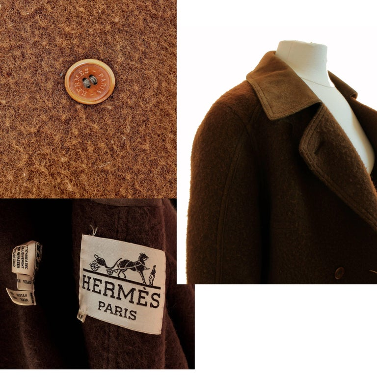 Hermes Brown Double Breasted Suede Leather Trim Trench Style Wool Coat, 1970s For Sale 4