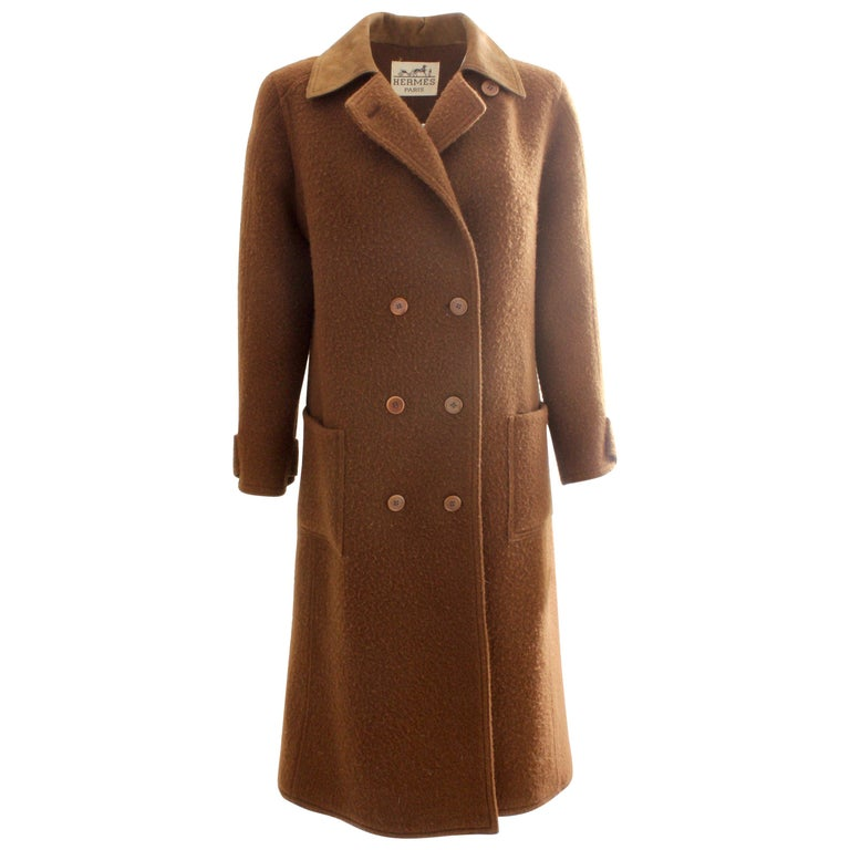 Hermes Brown Double Breasted Suede Leather Trim Trench Style Wool Coat, 1970s For Sale
