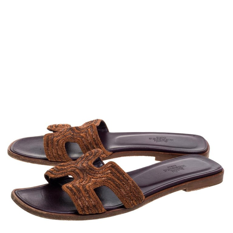 Women's Hermes Brown Fabric Oran Flats Size 36.5 For Sale