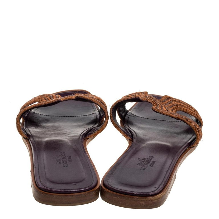 Hermes Brown Fabric Oran Flats Size 36.5 For Sale 3