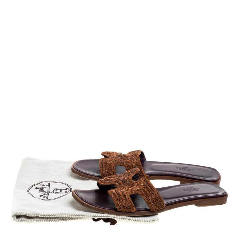 Hermes Brown Fabric Oran Flats Size 36.5 For Sale 4