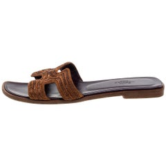 Hermes Brown Fabric Oran Flats Size 36.5