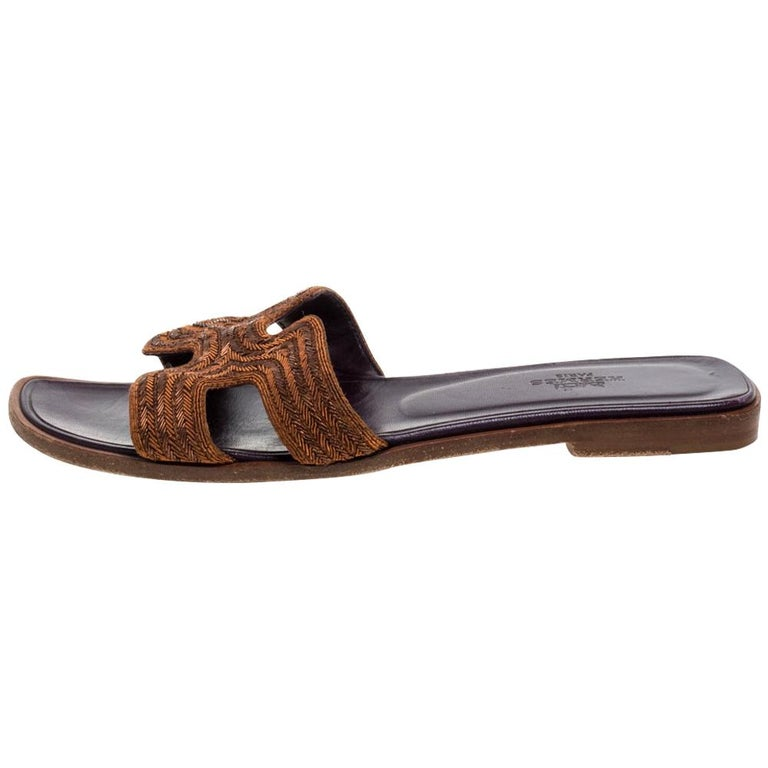 Hermes Brown Fabric Oran Flats Size 36.5 For Sale