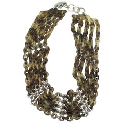 Hermes Brown Foliage Horn Chain Necklace w/ SHW