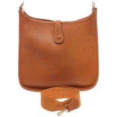 Hermes Brown Gold Leather Evelyne I GM Bag
