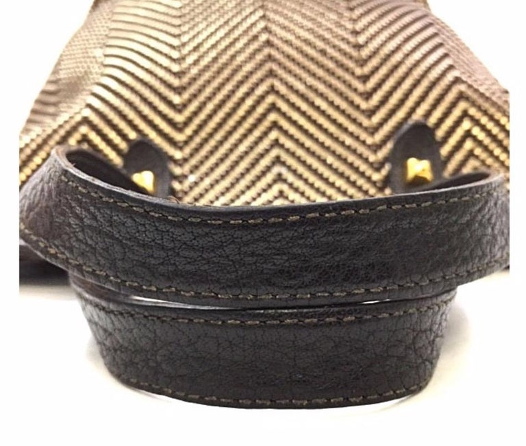 Black Hermes Brown Gold Leather Woven Carryall Top Handle Satchel Tote Bag For Sale