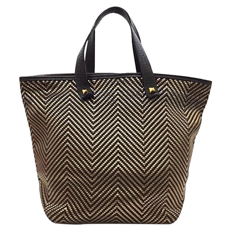 Hermes Brown Gold Leather Woven Carryall Top Handle Satchel Tote Bag For Sale
