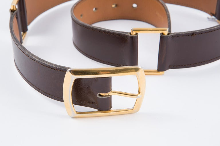 Gorgeous brown lamb box leather Hermès belt featuring plated gold hook buckle, and plated gold details,  and an inside gold tone HERMES Paris stamp Length: 31.8in. (81 cm) Width: 1.18in. (3cm)  In good vintage condition. Made in France. Please note