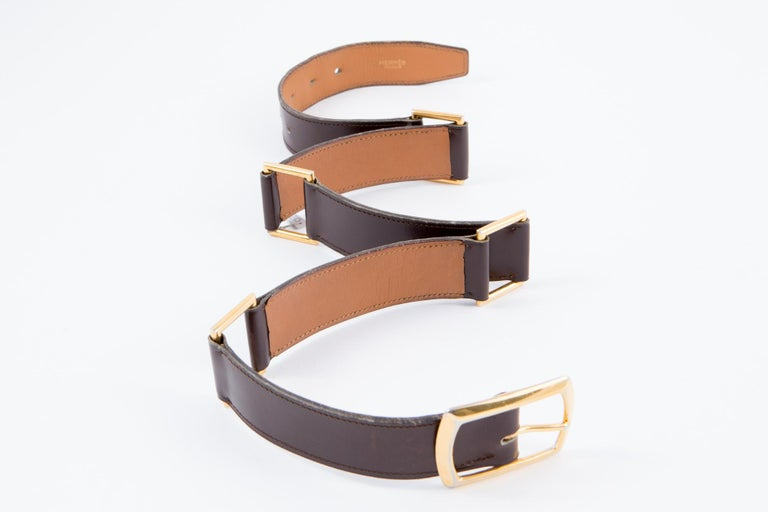 Women's Hermes Brown Lamb Box Leather Belt  For Sale