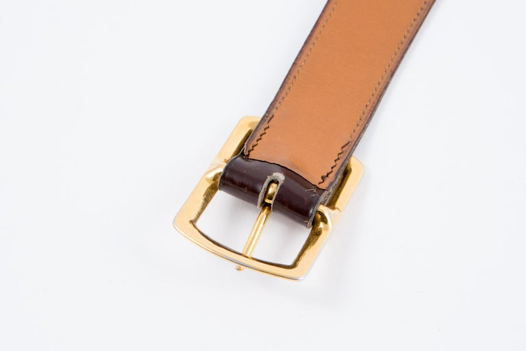 Hermes Brown Lamb Box Leather Belt  For Sale 1