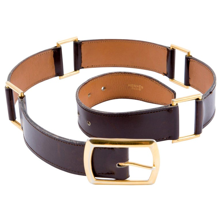 Hermes Brown Lamb Box Leather Belt  For Sale