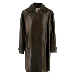 Hermes Brown Lambskin Double Breasted Coat - Size XL - FR 52
